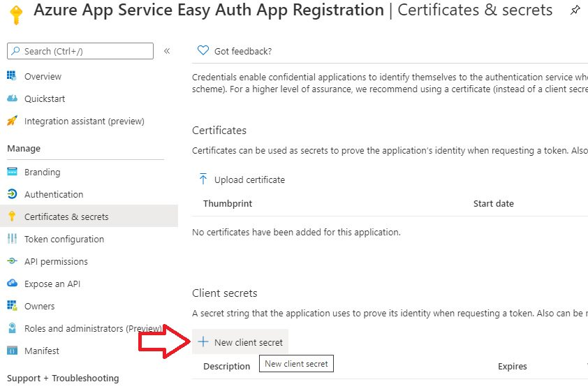 App registration for App Service Easy Auth Step 10
